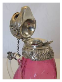 A RARE SILVER PLATED CRANBERRY GLASS MONKEY CLARET JUG 6.PNG